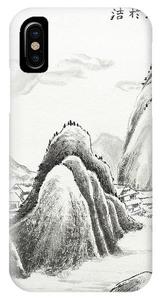 China Town iPhone Case - Mountain Village - Ink by Birgit Moldenhauer