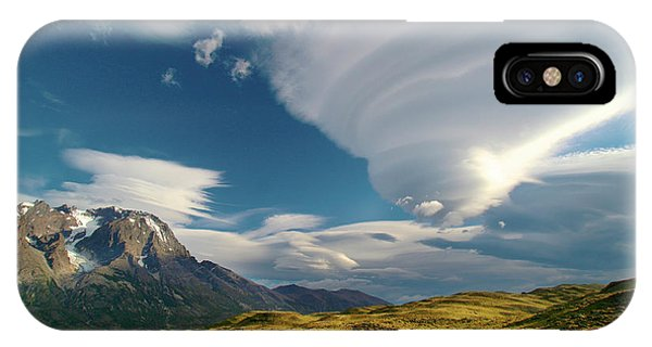 Mountains And Lenticular Cloud In Patagonia IPhone Case