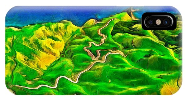 Lettuce iPhone Case - Mountains And Ocean - Pa by Leonardo Digenio