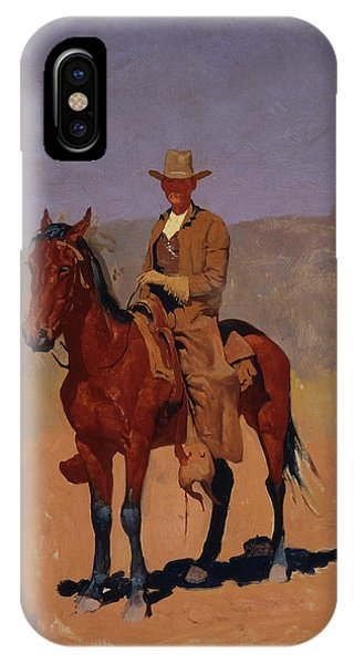 West Bay iPhone Case - Mounted Cowboy In Chaps With Bay Horse by Frederic Remington