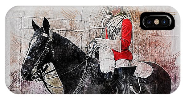 Mounted Household Cavalry Soldier On Guard Duty In Whitehall Lon IPhone Case