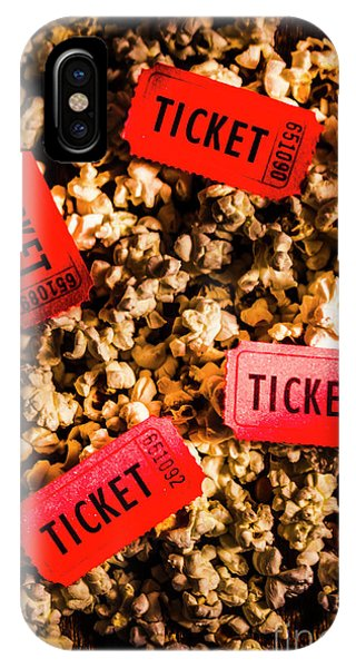 Movie iPhone Case - Movie Tickets On Scattered Popcorn by Jorgo Photography - Wall Art Gallery
