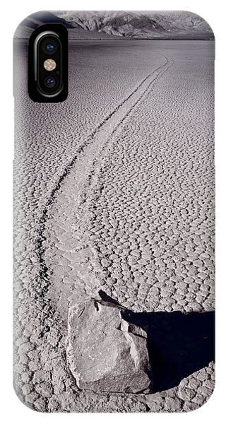 Moving Rocks Number 2  Death Valley Bw IPhone Case