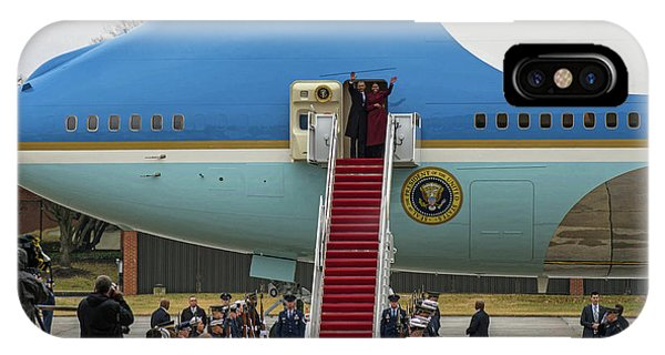 Mr And Mrs Obama Waving Goodbye After Leaving Office IPhone Case