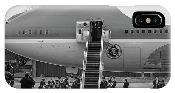Mr And Mrs Obama Waving On Air Force One Waving Goodbye After Leaving Office IPhone Case