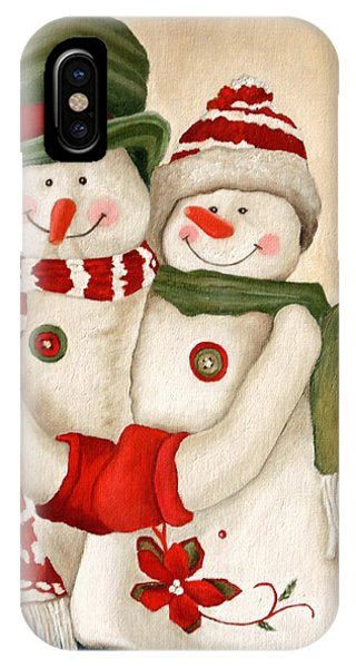 Mr. And Mrs. Snowman Vintage IPhone Case