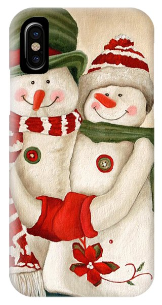 IPhone Case featuring the painting Mr. And Mrs. Snowman Vintage by Angeles M Pomata