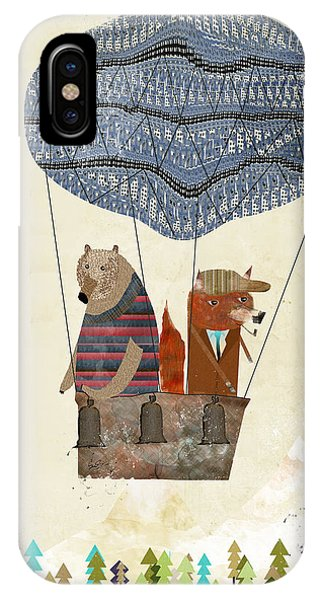 Hot Air Balloons iPhone Case - Mr Fox And Bears Adventure  by Bri Buckley