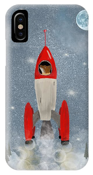 Solar System iPhone Case - Mr Fox Goes To The Moon by Bri Buckley