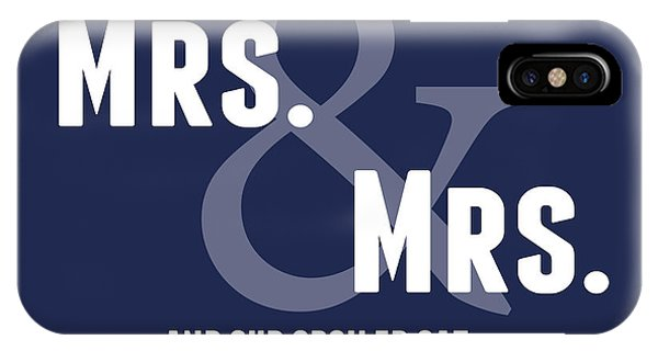 Wedding Gift iPhone Case - Mrs And Mrs And Cat- Blue by Linda Woods