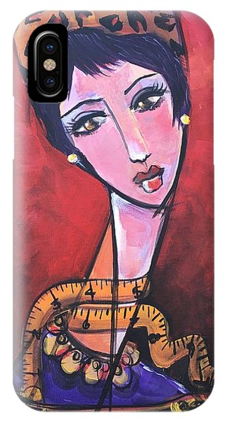 IPhone Case featuring the painting Ms. Bimba Fashionable Seamstress by Laurie Maves ART