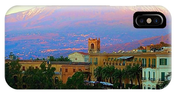 Mt Etna iPhone Case - Mt. Etna From Taormina Sicily by Scott Carda