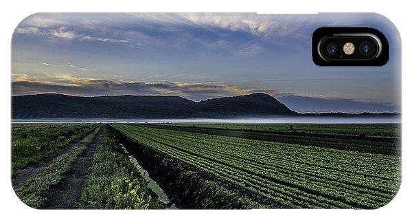 Dawn And Fog Over The Farmland IPhone Case