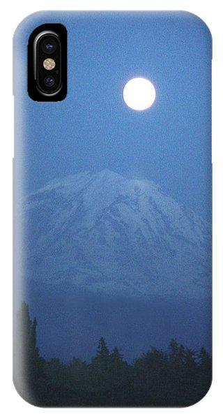 Mt Rainier Full Moon IPhone Case