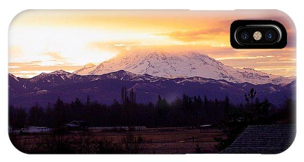 Mt. Rainier On Fire IPhone Case