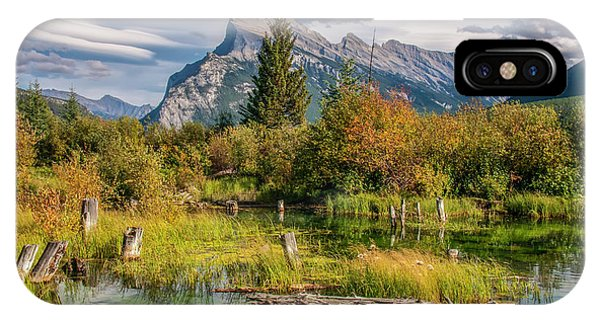 IPhone Case featuring the photograph Mt. Rundle 2009 03 by Jim Dollar