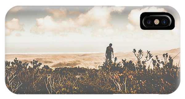 Discovery iPhone Case - Mt Zeehan Backpacker  by Jorgo Photography - Wall Art Gallery