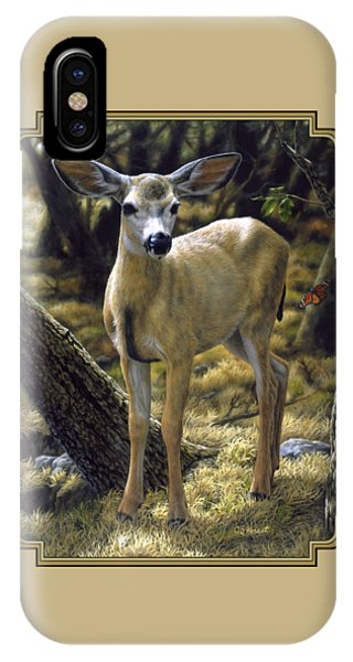 Mule Deer iPhone Case - Mule Deer Fawn - Monarch Moment by Crista Forest