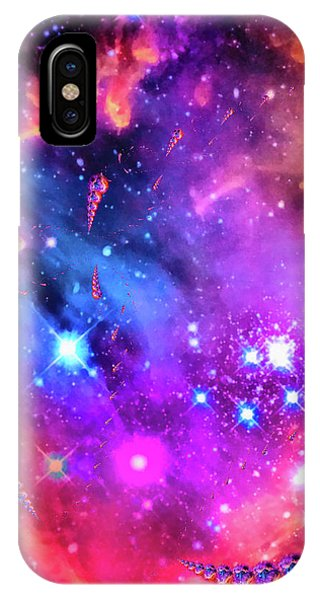Orange iPhone Case - Multi Colored Space Chaos by Matthias Hauser