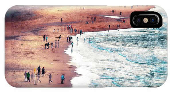 IPhone Case featuring the photograph multiple exposure of people on North sea beach  by Ariadna De Raadt