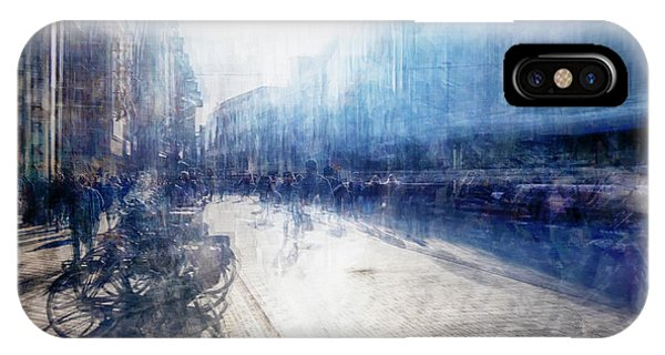 IPhone Case featuring the photograph Multiple Exposure Of Shopping Street by Ariadna De Raadt
