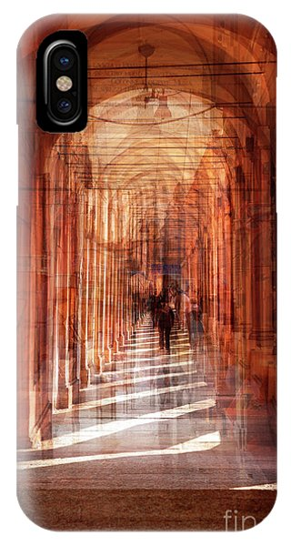 multiple exposure of  street arcade, Italy  IPhone Case