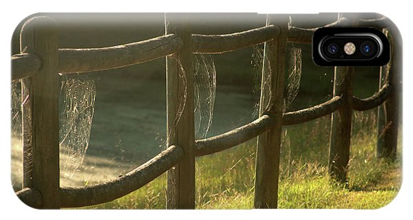 Multiple Spiderwebs On Wooden Fence IPhone Case