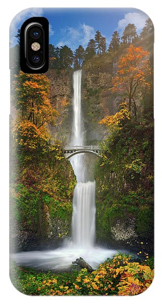 Multnomah Falls In Autumn Colors -panorama IPhone Case
