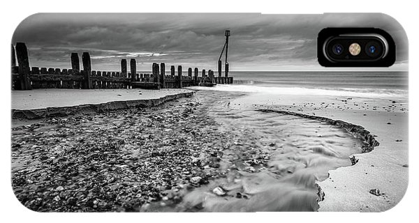IPhone Case featuring the photograph Mundesley Beach - Mono by James Billings
