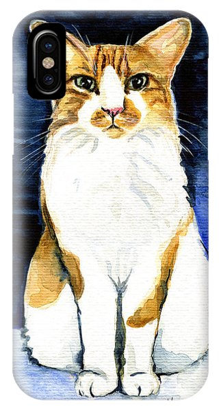 Mustached Bicolor Beauty - Cat Portrait IPhone Case