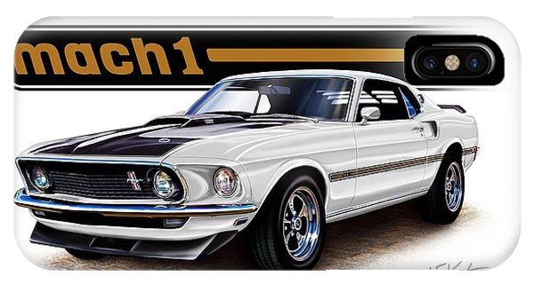 Mustang Mach 1 White Phone Case by David Kyte