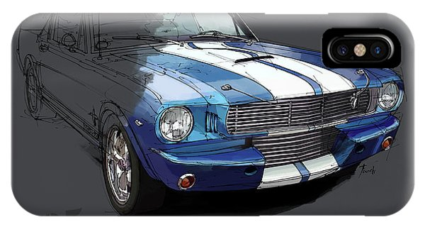 Arte iPhone Case - Mustang Shelby Gt-350, Blue And White Classic Car, Gift For Men by Drawspots Illustrations