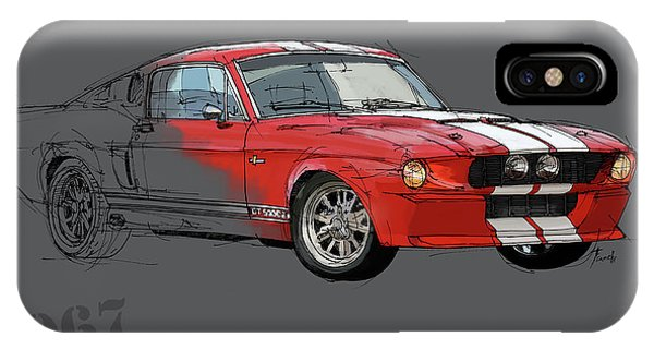 Arte iPhone Case - Mustang Shelby Gt500 Red, Handmade Drawing, Original Classic Car For Man Cave Decoration by Drawspots Illustrations