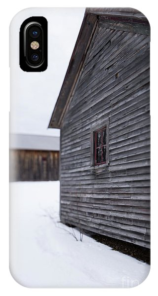 IPhone Case featuring the photograph Musterfield Farm North Sutton Nh Old Buildings In The Snow by Edward Fielding