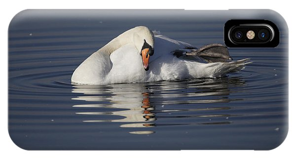Mute Swan Resting In Rippling Water IPhone Case