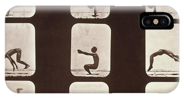 Stop Action iPhone Case - Muybridge Locomotion Back Hand Spring by Photo Researchers