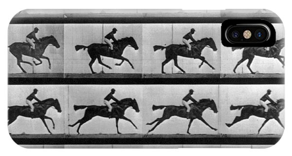 Stop Action iPhone Case - Muybridge Locomotion Racehorse by Photo Researchers