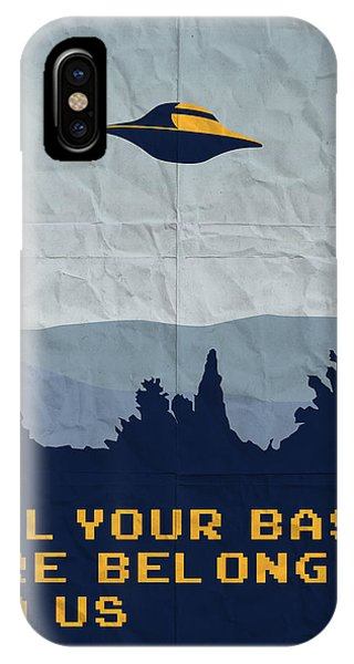 Nerd iPhone Case - My All Your Base Are Belong To Us Meets X-files I Want To Believe Poster  by Chungkong Art