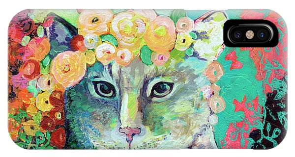 Pet Portrait iPhone Case - My Cat Naps In A Bed Of Roses by Jennifer Lommers