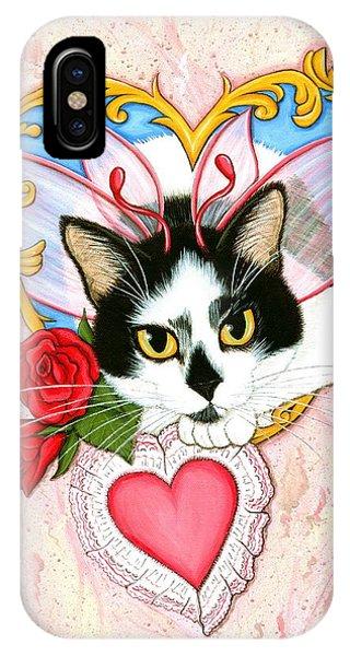 My Feline Valentine Tuxedo Cat IPhone Case
