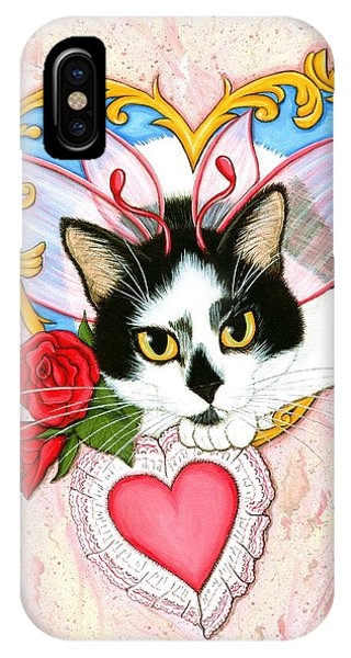 My Feline Valentine Tuxedo Cat IPhone Case