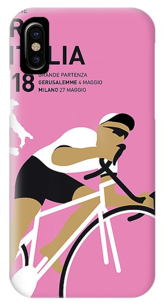 Cycling iPhone Case - My Giro Ditalia Minimal Poster 2018 by Chungkong Art