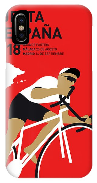 Cycling iPhone Case - My Vuelta A Espana Minimal Poster 2018 by Chungkong Art
