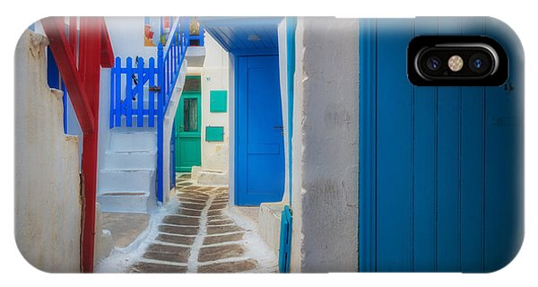 Greece iPhone X Case - Mykonos Alley by Inge Johnsson