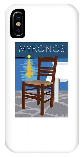 Mykonos Empty Chair - Blue IPhone Case