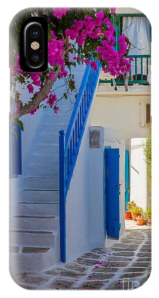 Bougainvillea iPhone Case - Mykonos Staircase by Inge Johnsson