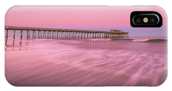 IPhone Case featuring the photograph Myrtle Beach Fishing Pier At Sunset Panorama by Ranjay Mitra