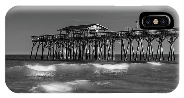 Myrtle Beach Pier Panorama In Black And White IPhone Case
