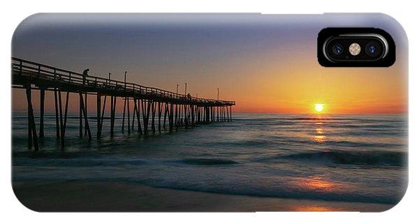 Tiki Bar iPhone Case - Nags Head Pier Sunrise Reflections by Norma Brandsberg