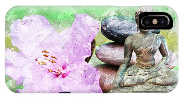 IPhone Case featuring the mixed media Namaste Buddha. V2 by Lita Kelley